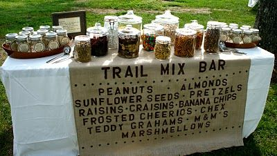 Shut Up! I love this.....: Foodbar, Birthday Parties, Food Stations, Candy Bar, Trail Mixed Bar, Parties Ideas, Camps Parties, Trail Mix Bars, Food Bar