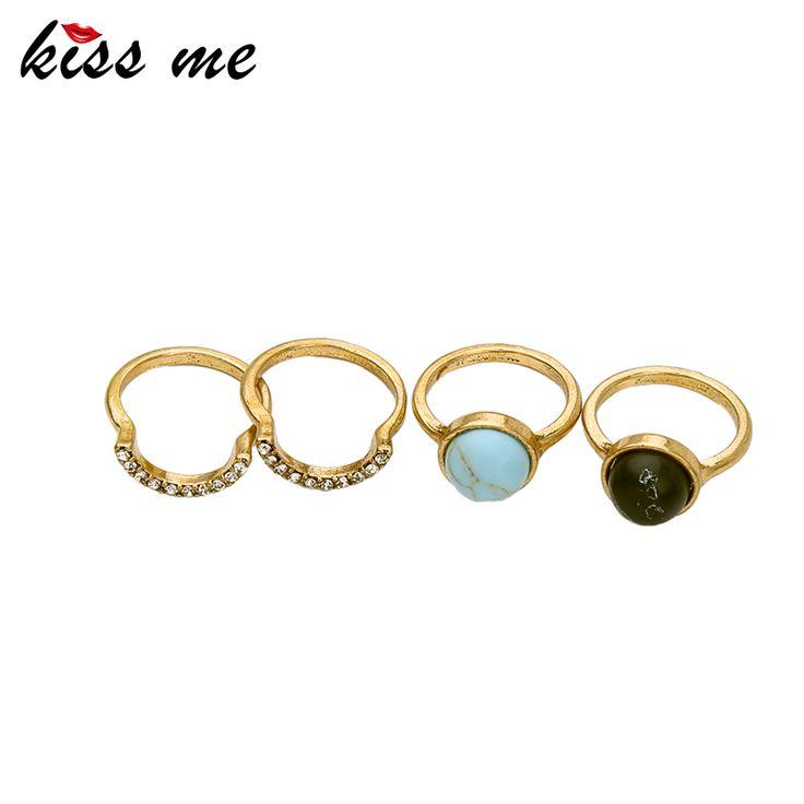 Kiss me 4 unids/set aleación de anillos de oro para las mujeres nuevo diseño de accesorios de joyería de la vendimia anillos de dedo
