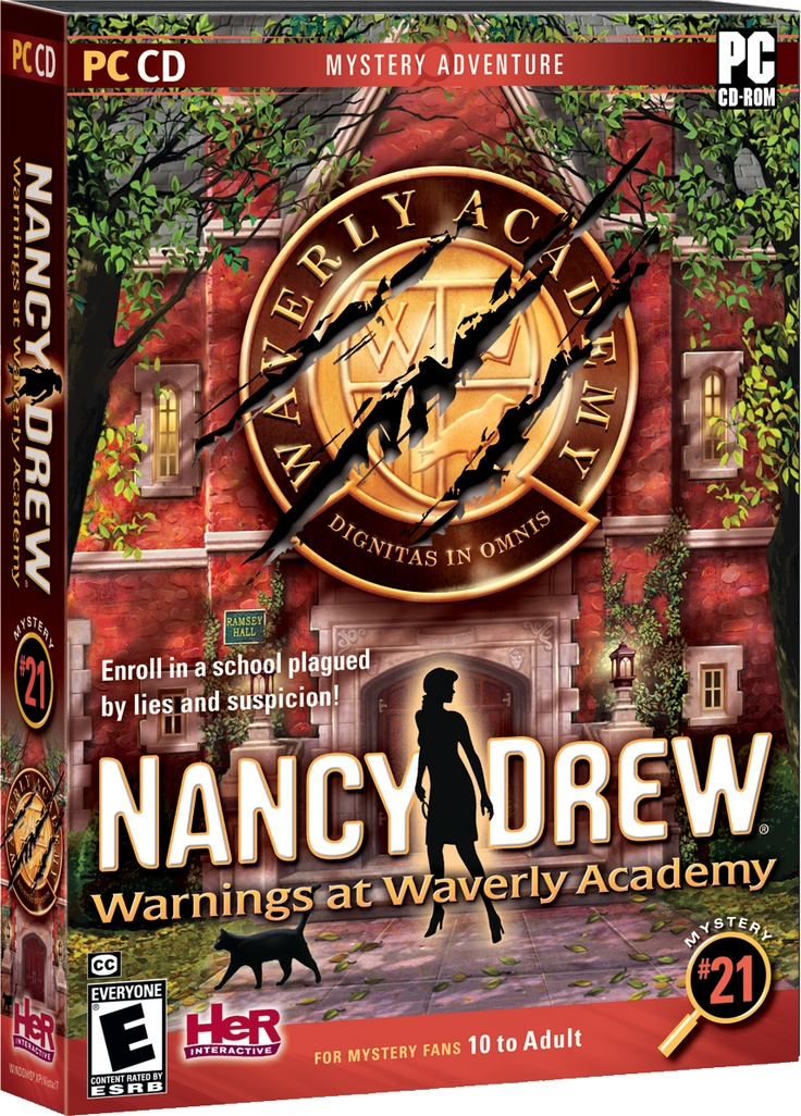 Nancy Drew: Warnings at Waverly Academy computer game. Enroll in a school plagued by suspicions and lies! http://www.herinteractive.com/Mystery_Games/Nancy_Drew/Warnings_at_Waverly_Academy/pc
