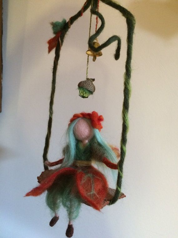 Needle felted fairy, Waldorf inspired, Forest Fairy, Wool Fairy on swing, Art doll, Felted doll, Gift, Mobile, Home decor, Wool ornament