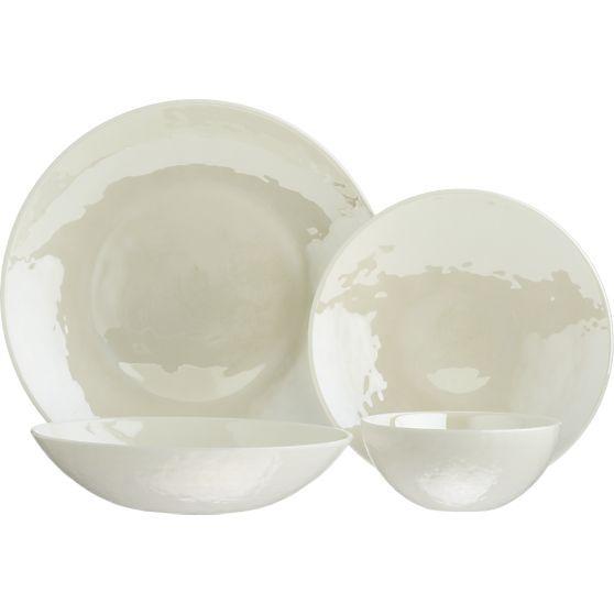 Murano Cream Serving in Dinnerware Sets | Crate and Barrel