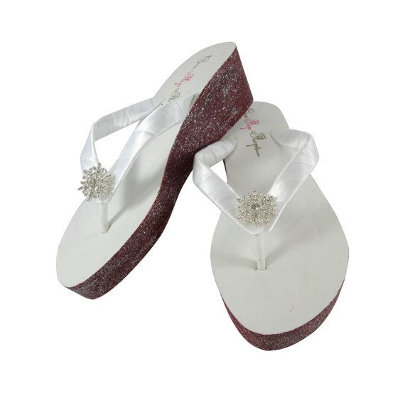Emerald Cut Embellished Ruby Red Flip Flops Custom Painted White or Ivory Wedges