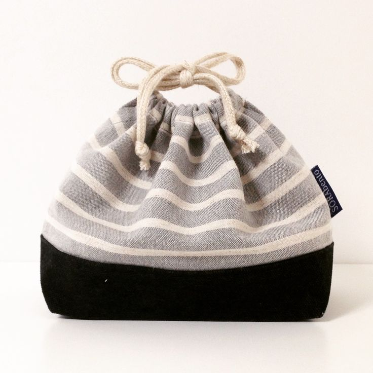 Grey stripe bento bag. Linen and canvas with hemp cords.