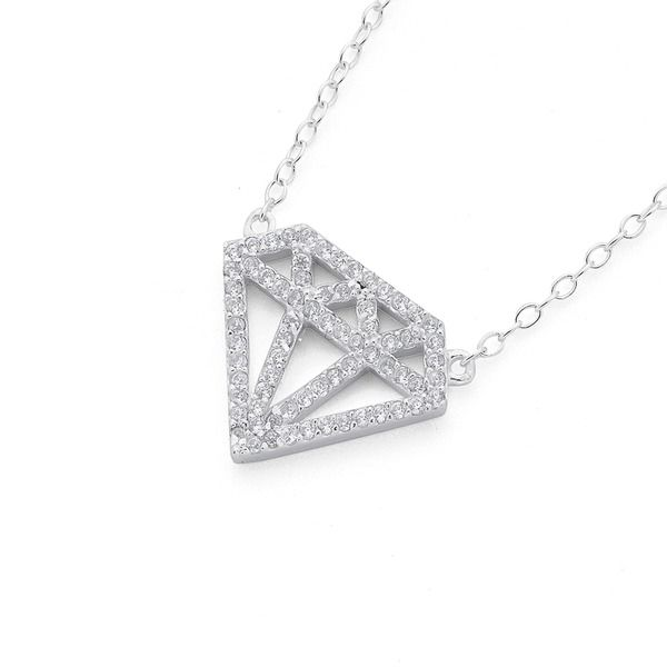 Sterling Silver Cubic Zirconia Diamond Shape Necklet