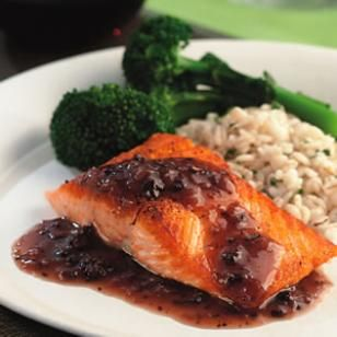 Salmon with Red Wine-Morel Sauce.  303 calories per 5oz fillet with sauce.