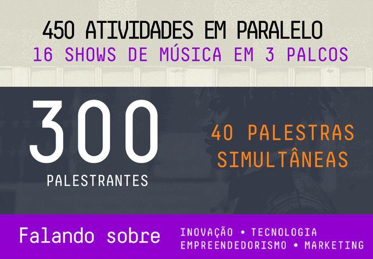 450 atividades em paralelo, 16 shows de musica em 3 palcos, 300 palestrantes, 40 palestras simultâneas, falando sobre inovação, tecnologia, empreendedorismo, marketing