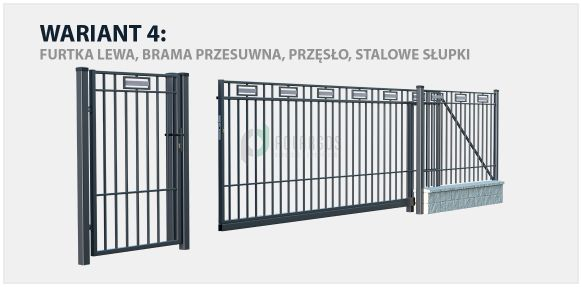 Nowoczesne ogrodzenie Argos w zestawieniu z bramą przesuwną i stalowymi słupkami.