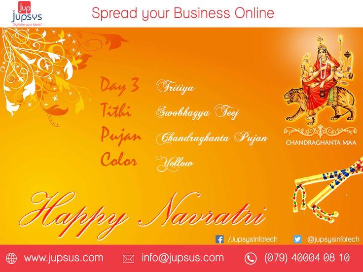 The Third Day Is Dedicated To The Goddess Chandraghanta, The Symbolic Representation Of Beauty And Bravery. Navratri. #Happy #Navratri #Chandraghanta #happynavratri #jupsys #jupsysinfotech