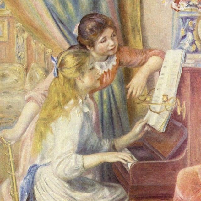 Девушки за фортепьяно (импрессионизм), музей Орсе в Париже, 1892 год, Пьер Огюст Ренуар.  Существуют по крайней мере три другие картины Ренуара с похожей композицией — две в частных коллекциях и одна в нью-йоркском Метрополитен-музее. Кроме этого, есть масляный эскиз в парижском Музее Оранжери и рисунок пастелью в частной коллекции. Ещё один набросок находится в Государственном Эрмитаже в Санкт-Петербурге — он поступил туда из бывшего собрания Отто Кребса в Хольцдорфе…