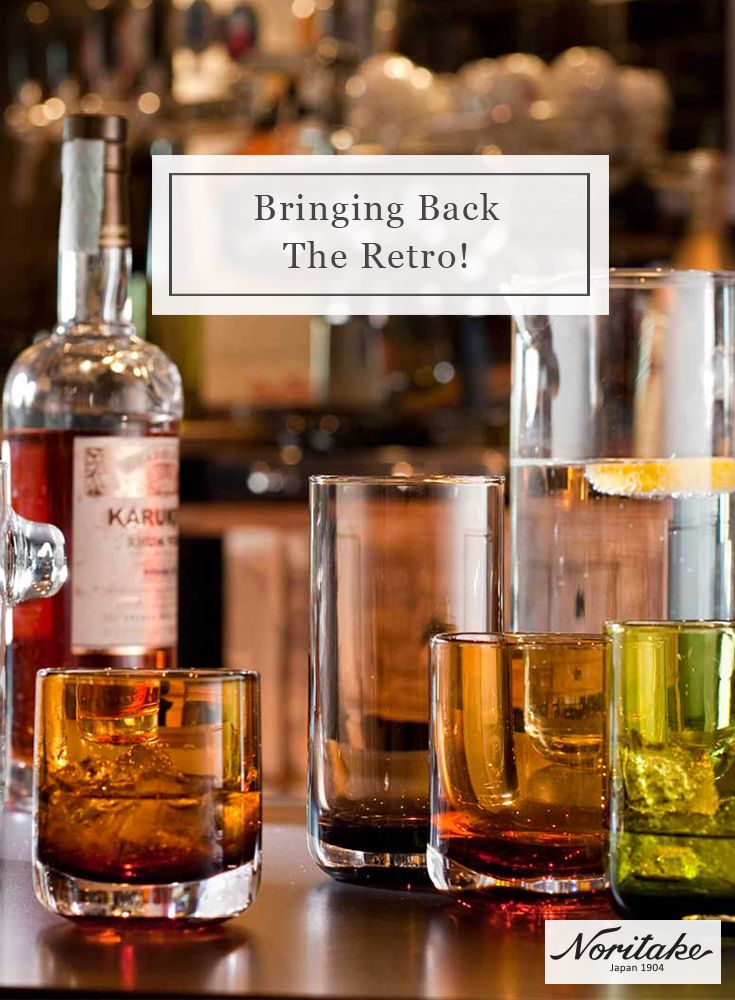 Bottoms up! Noritake is bringing back retro-coloured glassware. Featuring clean lines and minimalist design, experience luxury with IVV Lounge Bar.