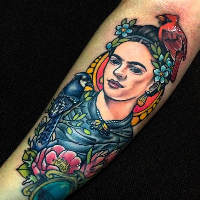 Incredible detail and vibrant colors on this Frida Kahlo tattoo done by Toxic Jan Fresco. #toxic #JanFresco #goodhandtattoo #neotraditional #coloredtattoo #fridakahlo