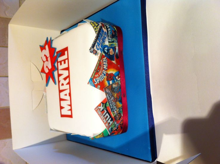 Marvel comic book cake made by Abi