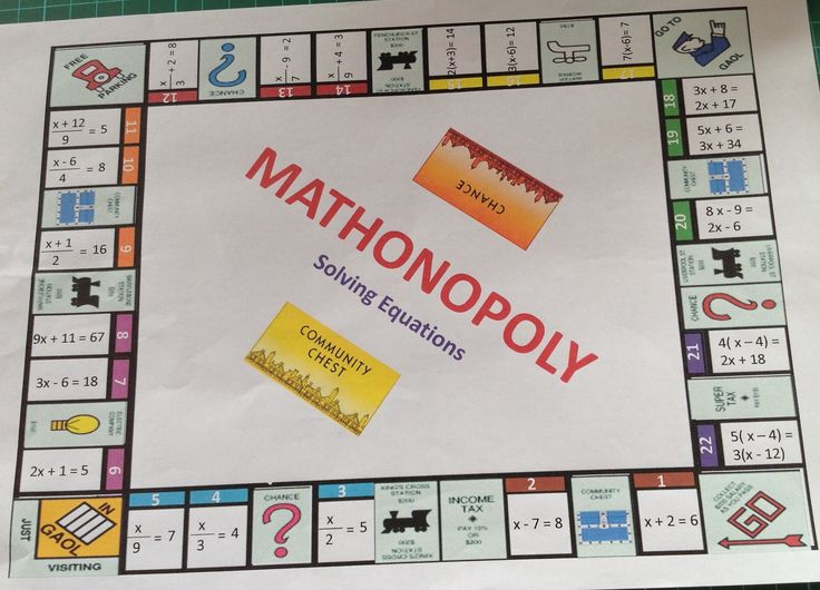 Work in a group of four to create your own solving equations monopoly. Each member will be in charge of creating one side of the board.   http://media-cache-ak0.pinimg.com/originals/6f/ed/3a/6fed3a2ec22bbe5457a0b35f82e9be99.jpg