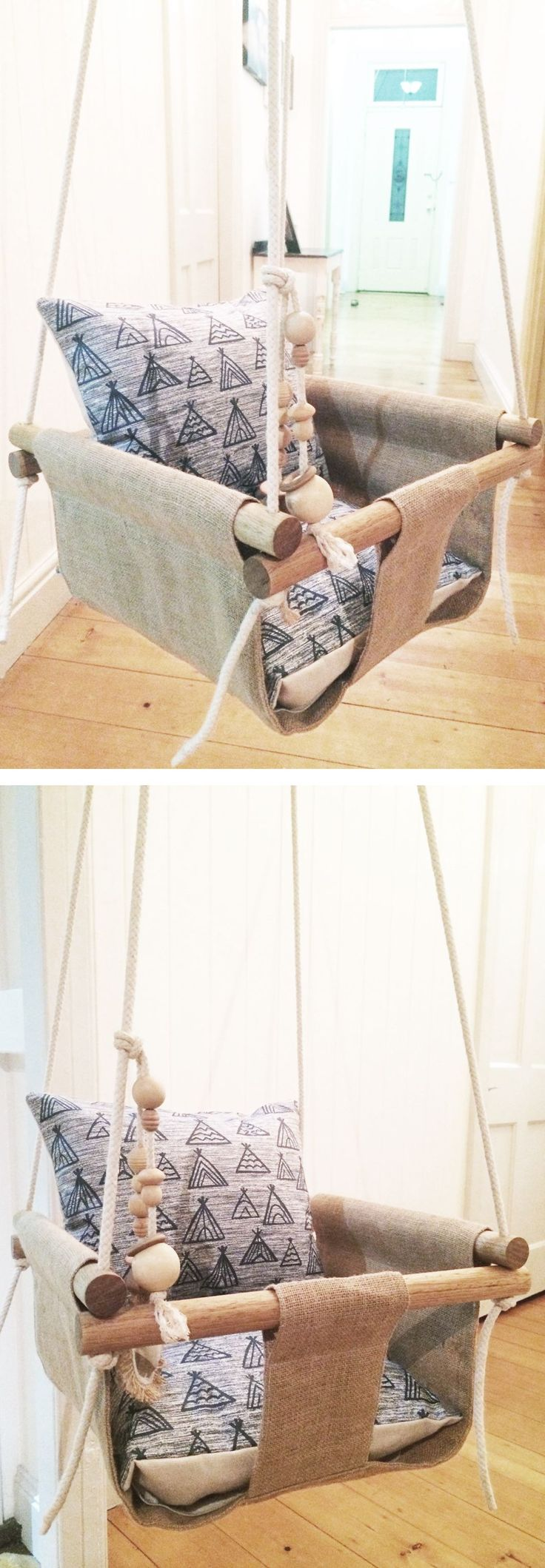 Handmade Burlap Baby Swing, Toddler Swing or Kids Swing and Rattle - perfect Christmas holiday gift for a toddler or baby parent, mom, or dad. Etsy - handmade in Australia.