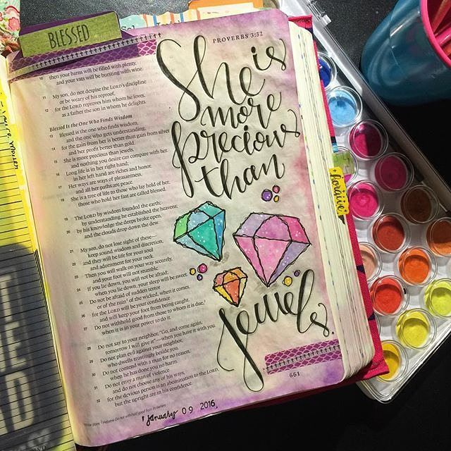 Bible Journaling by @movethemountains | Proverbs 3:15