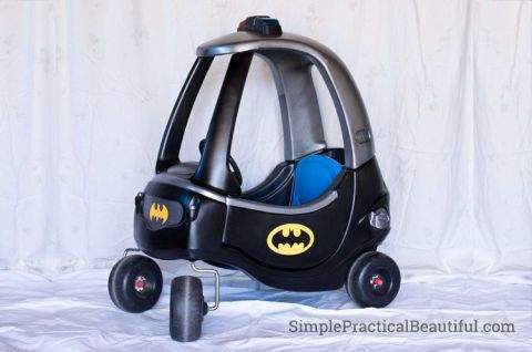 This transformation is for the most Batman-obsessed kiddos. For best results, have 'em wear full Batman garb (the cape, the mask, you name it). Just don't be surprised if they ask for a Batcave next. See more at Simple Practical Beautiful »
