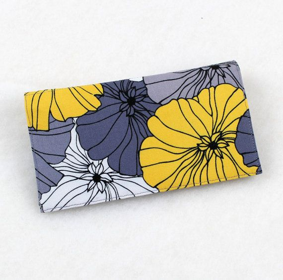 Modern Checkbook Cover for Duplicate Checks with Pen Holder, Gray and Yellow Flowers Fabric on Etsy, $12.00