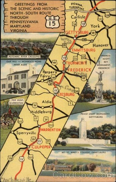 Postcard Road Map U S 15 Pennsylvania Maryland And Virginia