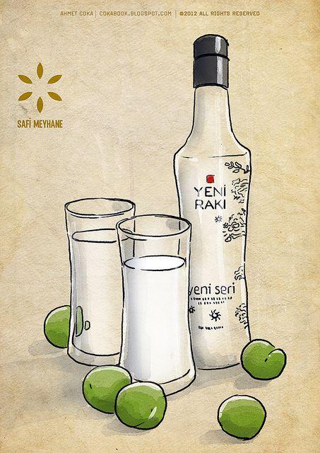 Yeni Raki bottle and glasses safi meyhane by ahmetcoka, via Flickr