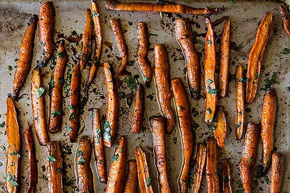 roasted carrots w/ a pinch of red pepper, a little pomegranate molasses or balsamic vinegar, and some fresh chopped cilantro, basil or parsley