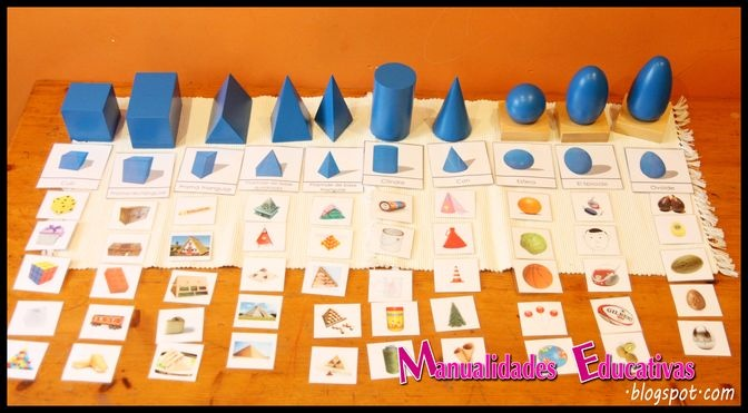 Montessori geometric solids - Printable Cards