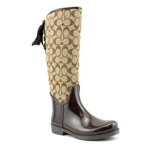 Coach Women's Tristee Signature Jacquard & Rubber Rain Boots, Style A7431 - http://shoes.goshopinterest.com/womens/boots/fashion/coach-womens-tristee-signature-jacquard-rubber-rain-boots-style-a7431/