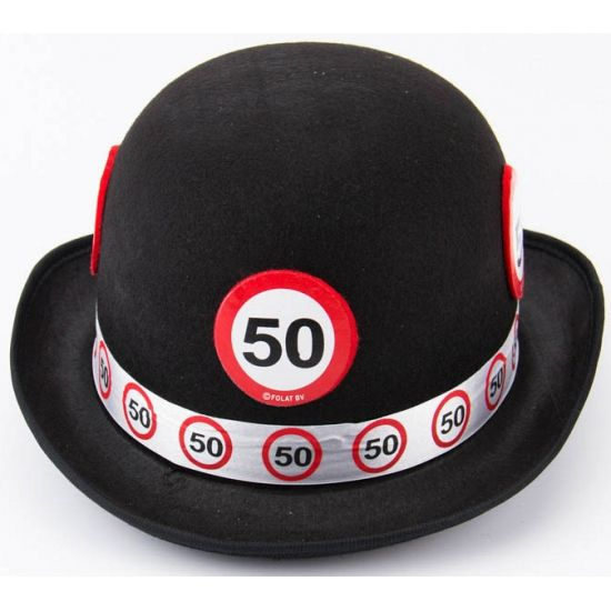 Abraham pop hoedje  Bolhoed met een verkeersbord print 50.  EUR 4.75  Meer informatie