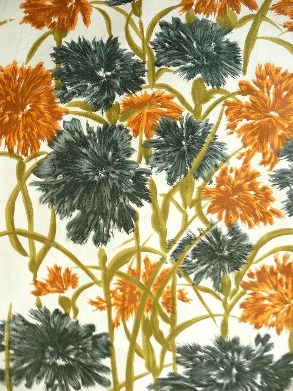 Carnation Print Floral Cotton Fabric Vintage New