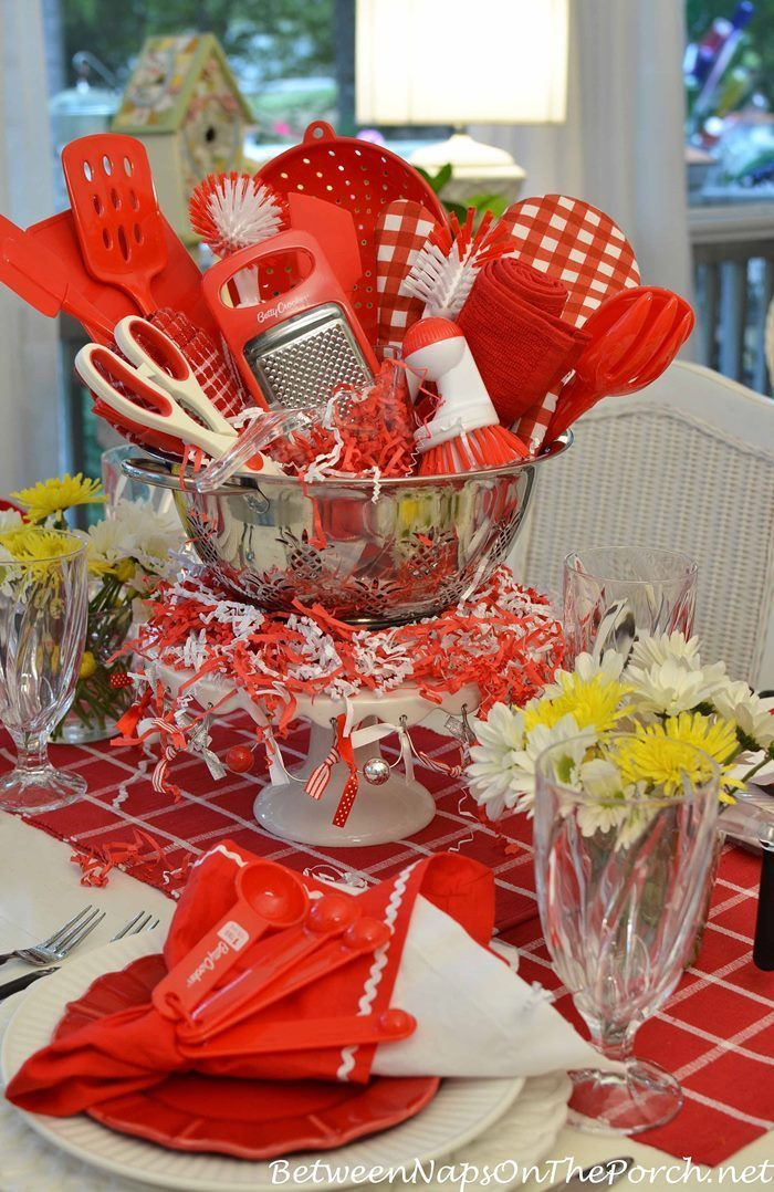 bridal shower themes without gifts%0A Easy Centerpiece for a Kitchen Gadgets Bridal Shower  Diy Party IdeasGift