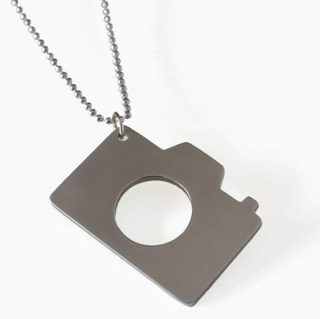 Camera necklace - Made By Leena #nordicdesigncollective #madebyleena #camera #titancamera #necklace #cameranecklace #grey #fiftyshadesofgrey