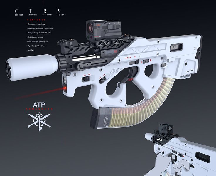 Submachine GUN High cap, Alex Penescu on ArtStation at https://www.artstation.com/artwork/compact-rifle