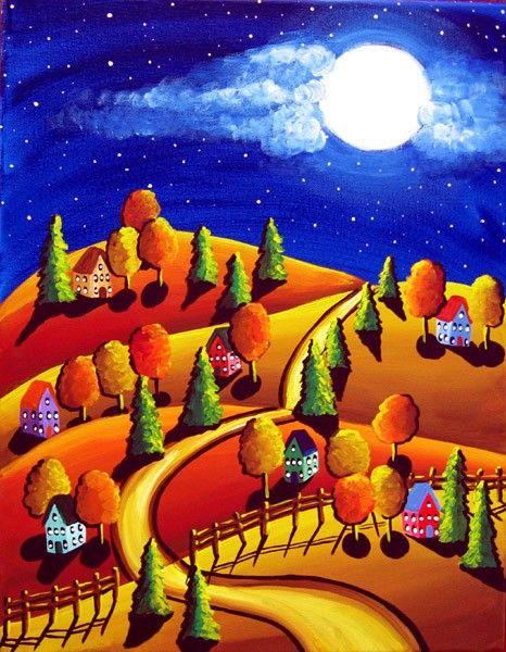 Fall Night Scene Full Moon Houses Trees Folk Art Painting via Etsy