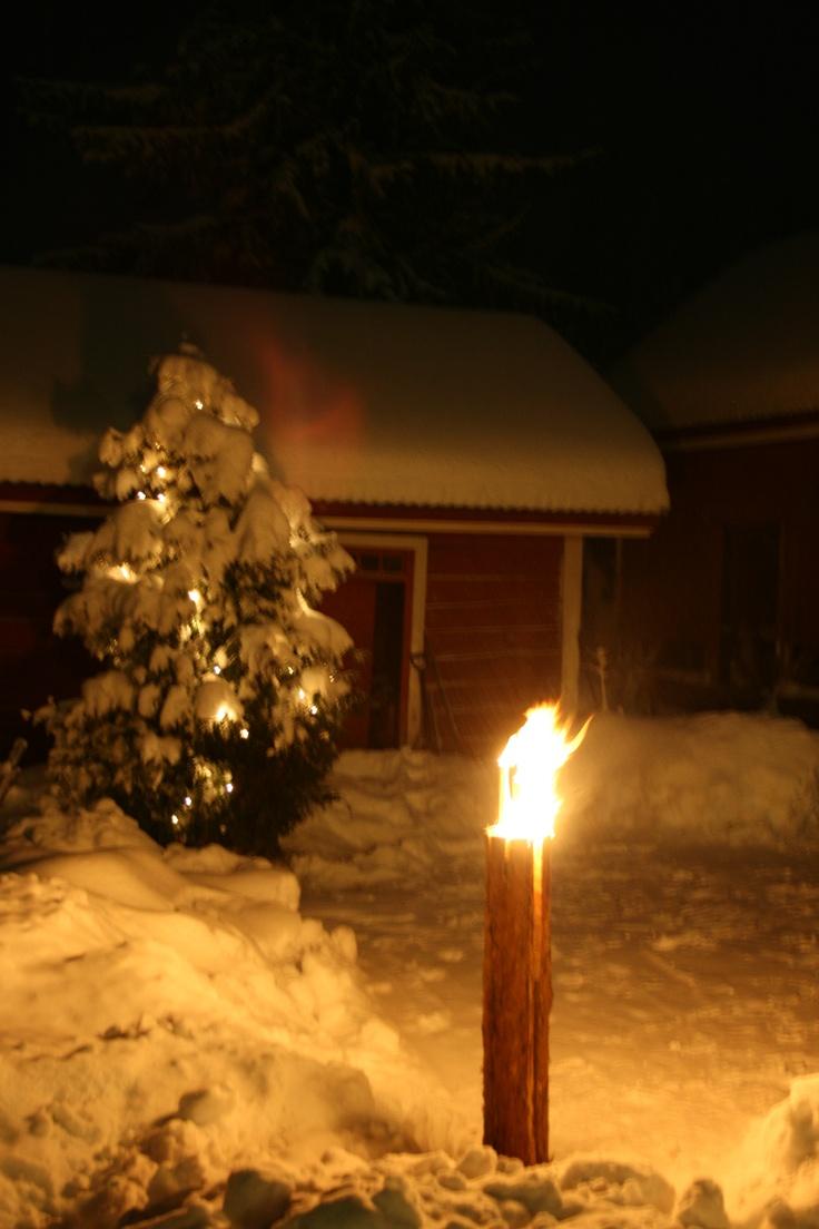 """Finnish log candle, """"jätkänkynttilä"""""""