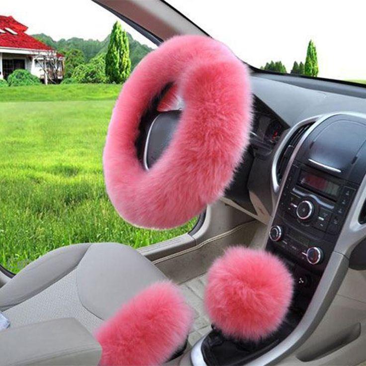 3Pcs/Set Plush Soft Warm woolen Auto Car Vehicle Steering Wheel Gear Brake Cover Set Spring Fur Leather Handle Sleeves Handbrake