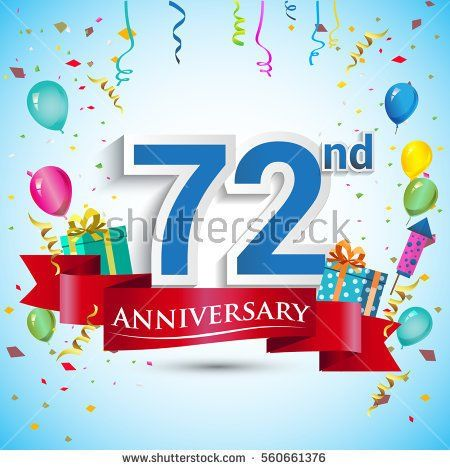 72nd Years Anniversary Celebration Design, with gift box and balloons, Red ribbon, Colorful Vector template elements for your seventy two birthday celebrating party.