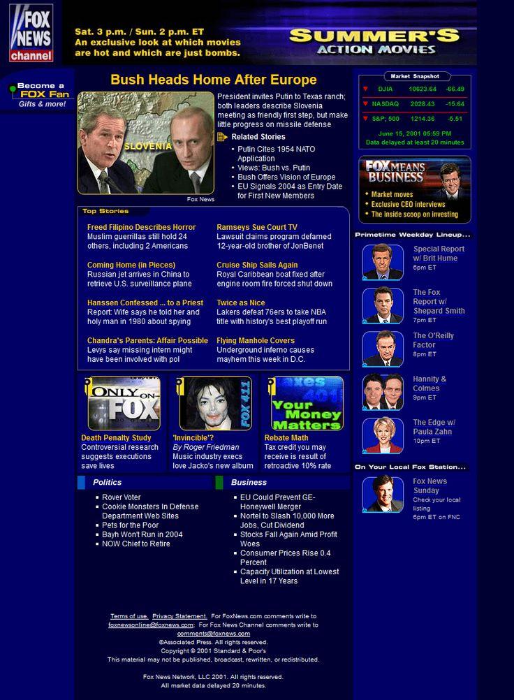 Fox News Channel website in 2001