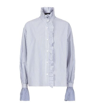 Burberry Runway Ruffled High Neck Stripe Shirt available to buy at Harrods. Shop designer women's shirts online and earn Rewards points.