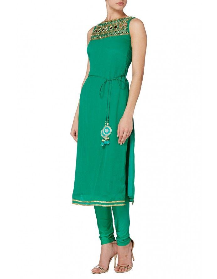 Emerald mirror work churidar suit  - Emerald green crepe kameez tunic with…