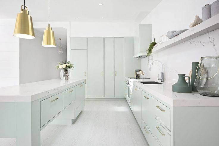 Kitchen inspo from three birds renovations. Lovely colour for 2017. Fresh and beachy.