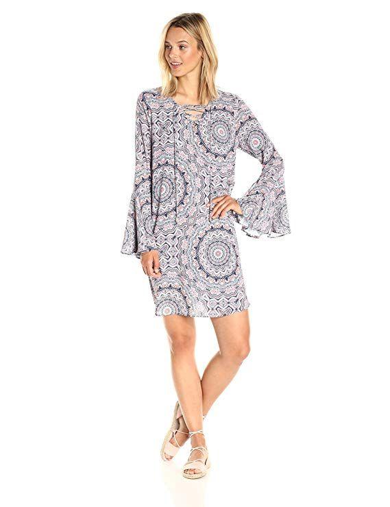 380c914e2aa1 Amazon.com  Ella Moon Women s Iliana 3 4 Bell Sleeve Lace up Neck Shift  Dress  Clothing