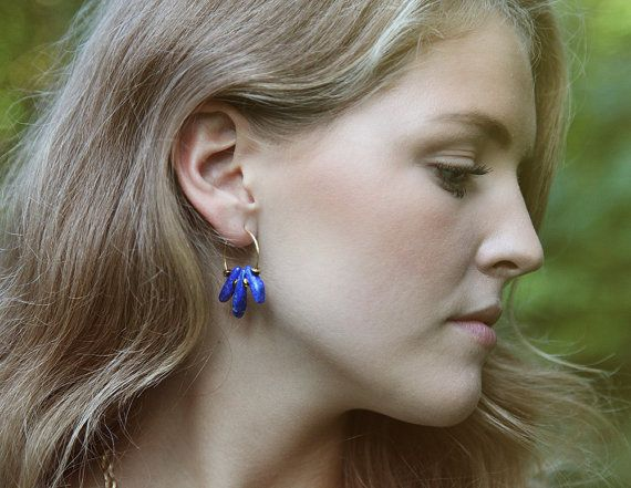Royal blue sodalite and goldplated hoop earrings by Rosehip Jewelry