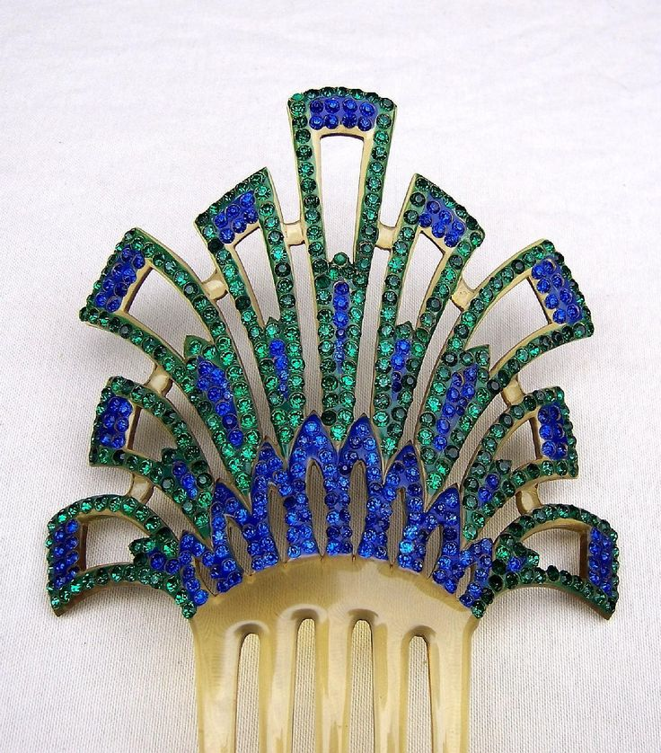 Art Deco Hair Comb Multi Color Rhinestone Celluloid Spanish Hair Accessory