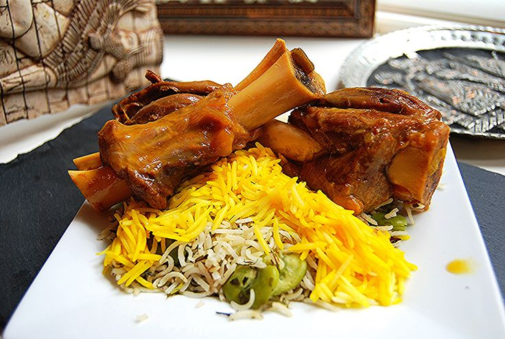 Lamb shanks and herbed basmati rice with fava beans
