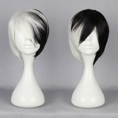 Half Black Half White Short Wig Anime Cosplay Cruella DeVille Wig #Moscer #FullWig
