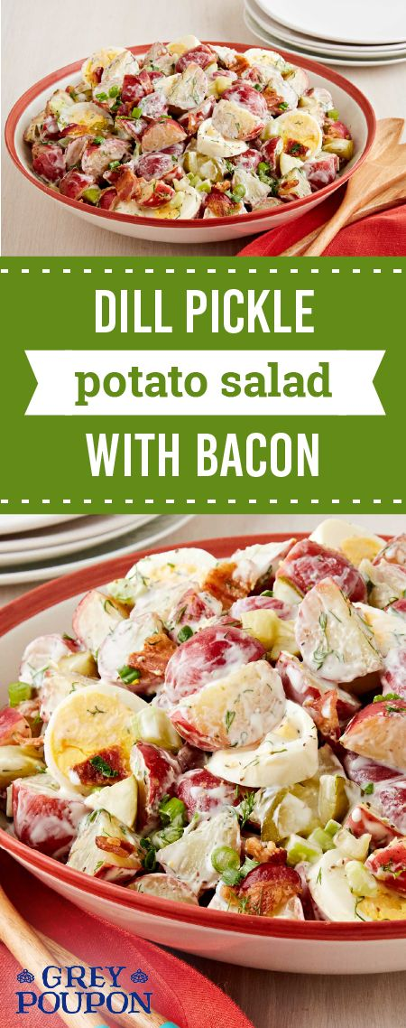 Dill Pickle Potato Salad with Bacon – Become the hero of your next summer picnic with this creamy side dish recipe. This combination of dill pickles, GREY POUPON Dijon Mustard, red potatoes, bacon, and hard-boiled eggs is a fresh take on a timeless treat.