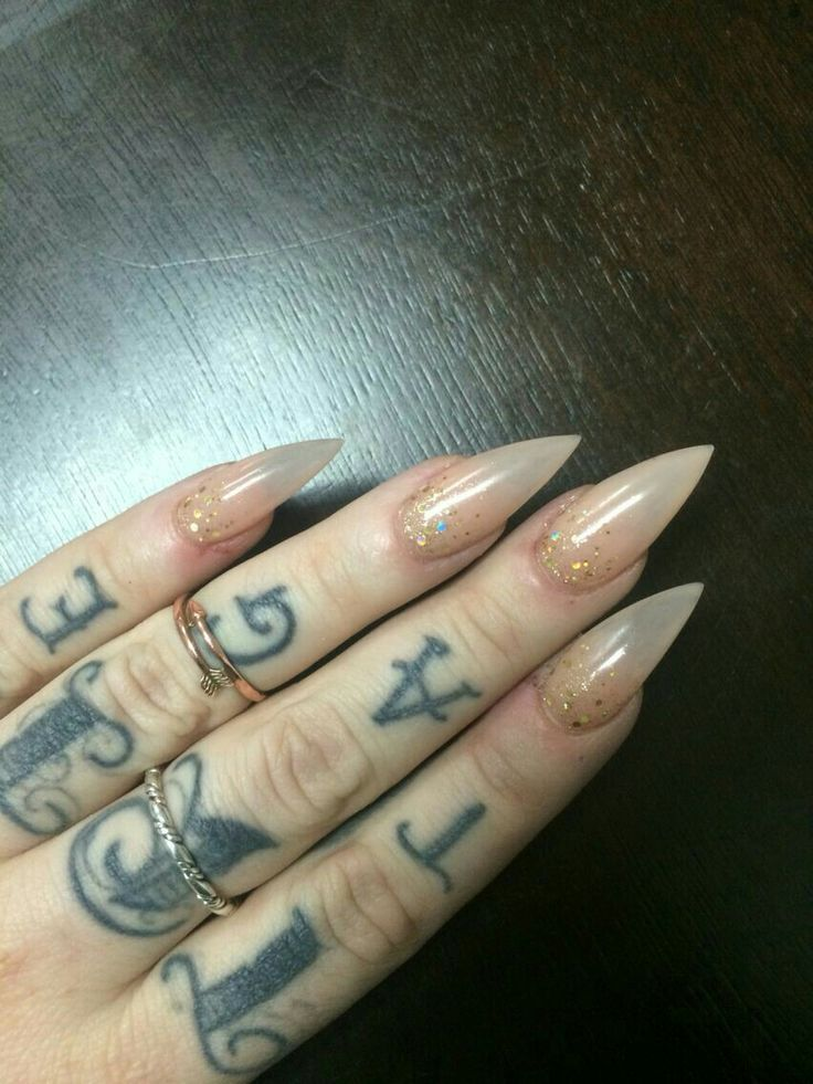 Nice Nude Stiletto Nails With Gold Glitter