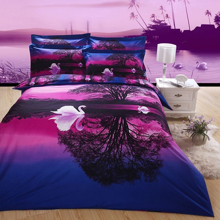 Purple and Blue Swan Lake Print Jungle Safari Themed Nature Scene Cute Style 3D Bedding Sets for Kids and Teen Children - EnjoyBedding.com