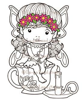 Daisy Faerie Marci on a Tea Cup - DIGI Stamp