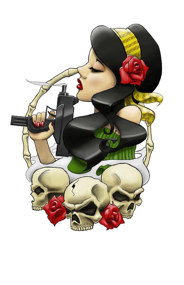 Ghetto Gypsy Head Tattoo by artisticrender