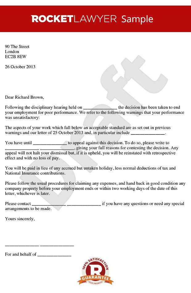Dismissal Letter For Poor Performance Poor Performance Dismissal